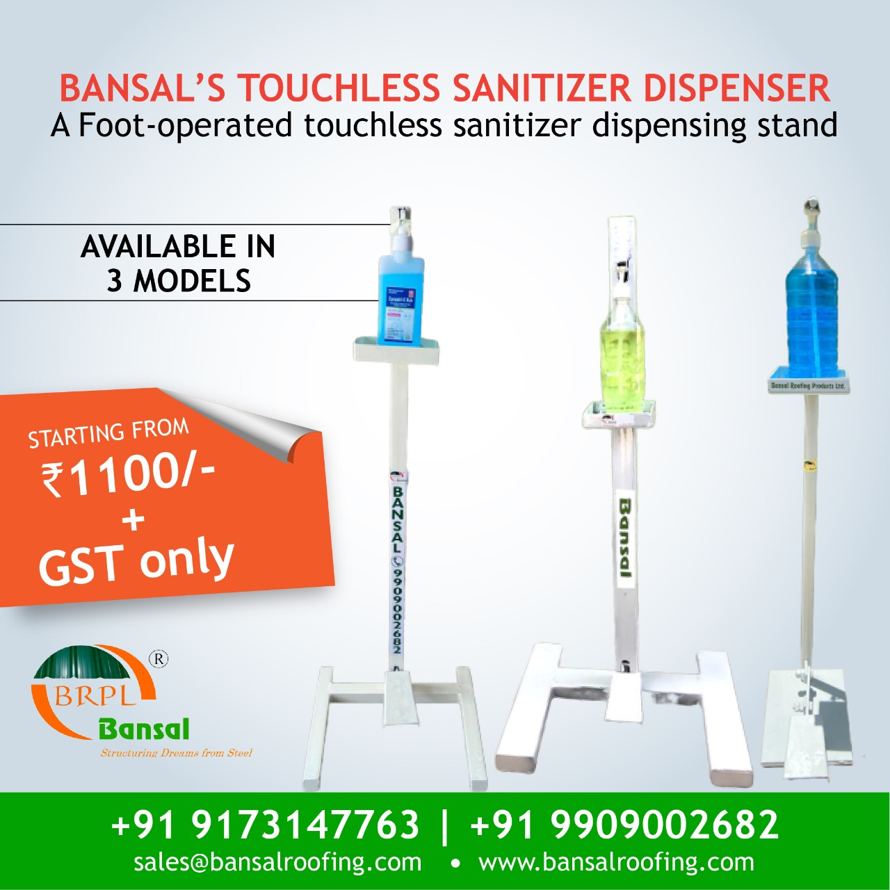 3 Models of Touchless Sanitizer Stand